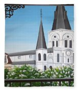 Balcony View Of St Louis Cathedral Fleece Blanket