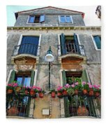 Balcony With Flowers In Venice, Italy Fleece Blanket