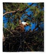 Bald Eagle In The Nest Fleece Blanket