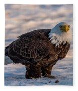Bald Eagle Over Its Prey Fleece Blanket