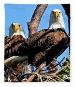 Bald Eagles In Nest Fleece Blanket