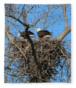 Bald Eagles Working On The Nest   3682 Fleece Blanket