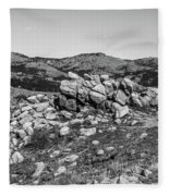 Bald Mountain Rock Formation In Black And White Fleece Blanket