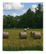 Bales In The Field Fleece Blanket
