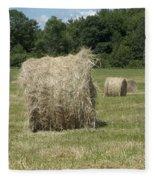 Bales Of Hay In New England Field Fleece Blanket