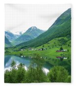 Balestrand Lake Village Fleece Blanket