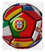 Ball With Flag Of Portugal In The Center Fleece Blanket