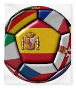 Ball With Flag Of Spain In The Center Fleece Blanket
