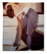 Ballerina Bending Over Fleece Blanket