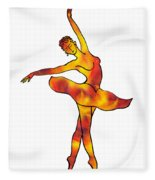 Ballerina Silhouette Dancing Fire Fleece Blanket