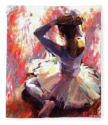 Ballet Dancer Siting  Fleece Blanket