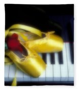 Ballet Shoes On Piano Keys Fleece Blanket