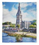 Ballina Cathedral On River Moy Fleece Blanket