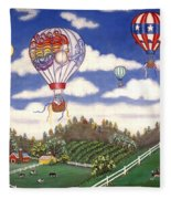 Ballooning Over The Country Fleece Blanket