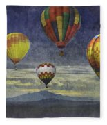 Balloons Over Sister Mountains Fleece Blanket