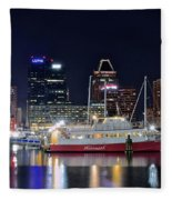 Baltimore Harbor At Night Fleece Blanket