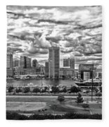 Baltimore Inner Harbor Dramatic Clouds Panorama In Black And White Fleece Blanket