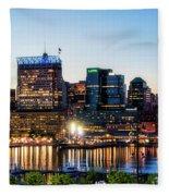 Baltimore Inner Harbor Reflections Fleece Blanket