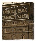 Baltimore Orioles Park At Camden Yards Sepia Fleece Blanket