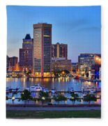 Baltimore Skyline Inner Harbor Panorama At Dusk Fleece Blanket