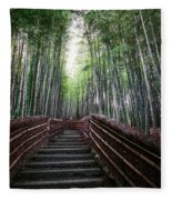 Bamboo Forest Of Japan Fleece Blanket