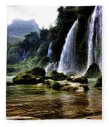Ban Gioc Vietnam's Most Beautiful Waterfall  Fleece Blanket