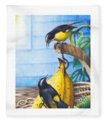 Bananaquits And Bananas Fleece Blanket