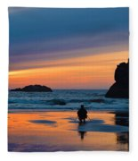 Bandon Sunset Photographer Fleece Blanket