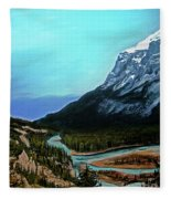 Banff Alberta Rocky Mountain View Fleece Blanket