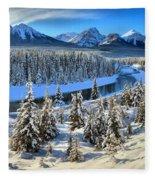 Banff Bow River Valley Fleece Blanket