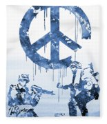 Banksy Soldiers-blue Fleece Blanket