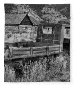 Bannack Extended Parking Black And White Fleece Blanket