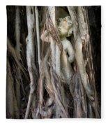 Banyan Grows Over Statue Fleece Blanket