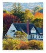 Bar Harbor Autumn House Fleece Blanket