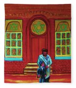 Bar Mitzvah Lesson At The Synagogue Fleece Blanket
