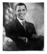 Barack Obama Martin Luther King Jr And Malcolm X Fleece Blanket