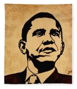 Barack Obama Original Coffee Painting Fleece Blanket