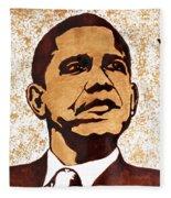 Barack Obama Words Of Wisdom Coffee Painting Fleece Blanket