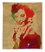 Barbara Stanwyck Watercolor Portrait Fleece Blanket