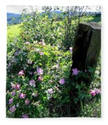 Barbed Wire And Roses Fleece Blanket