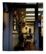 Barber Shop At Closing Time Fleece Blanket