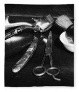 Barber - Things In A Barber Shop - Black And White Fleece Blanket