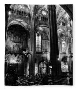 Barcelona Cathedral Interior Bw Fleece Blanket