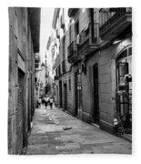 Barcelona Small Streets Bw Fleece Blanket