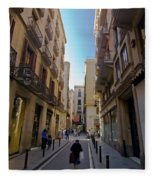 Barcelona Street Scene Fleece Blanket