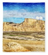 Bardenas Desert Panorama 3 - Vintage Version Fleece Blanket
