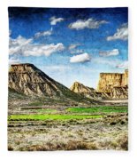 Bardenas Desert Panorama 4 - Vintage Version Fleece Blanket