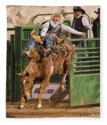Bareback Riding At The Wickenburg Senior Pro Rodeo Fleece Blanket