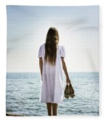 Barefoot At The Sea Fleece Blanket