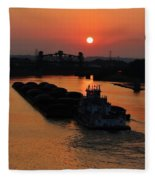Barge On The Ohio. Fleece Blanket